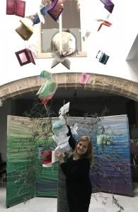 """Instalación de Libros Artísticos """"Libros Voladores"""" en el estudio de Victoria Cano."""